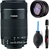 Canon 55-250mm IS STM Lens + High Definition Telephoto Auxiliary Lens + Deluxe Lens Cleaning Pen + Deluxe Lens Blower Brush