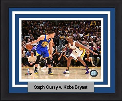 """Steph Curry v. Kobe Bryant Warriors/Lakers 8"""" x 10"""" Basketball Framed and Matted Photo"""