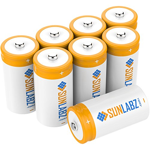 SunLabz C 3000mAh NiCD Rechargeable Batteries (8 Pack) (12 Sub C Battery)