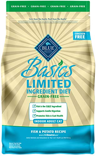 Blue Buffalo Basics Limited Ingredient Diet Grain Free, Natural Indoor Adult Dry Cat Food, Fish & Potato 5-lb (Best Cat Food For Cats With Allergies)