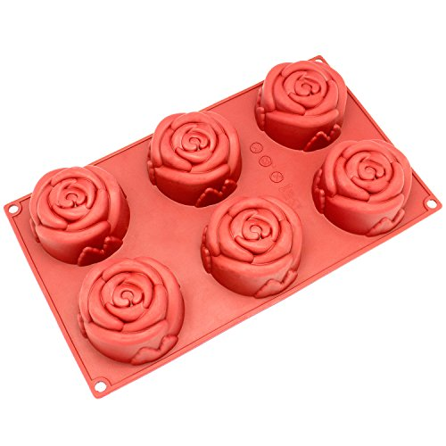 Freshware SL-135RD 6-Cavity Silicone Rose Muffin, Cupcake, Brownie, Cornbread, Cheesecake, Panna Cotta, Pudding, Jello Shot and Soap Mold