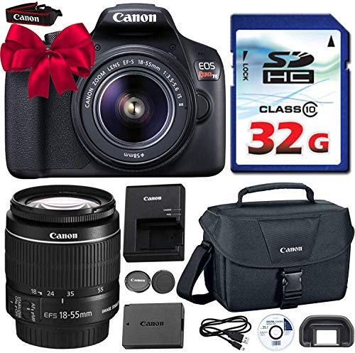 Canon EOS Rebel T6 DSLR 18mp WiFi Enabled + EF-S 18-55mm IS [Image Stabilizer] II Zoom Lens + Canon Professional Gadget Bag + Commander 32GB Class 10 Ultra High Speed Memory Card For Sale