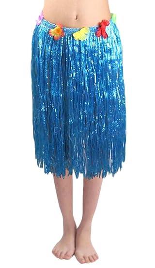 Adultos vestido de fiesta Luau hawaiano azul falda de hierba
