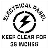 National Marker Corp. PMS226 Stencil, Electrical Panel Keep Clear For 36 Inches, Graphic 24 Inch X 24 Inch, 0.060 Plastic