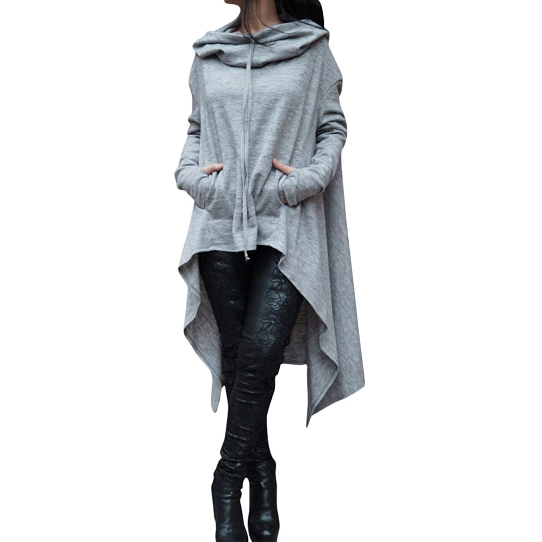 Womens Irregular Hem Double Slit Loose Long Sleeve Hooded Sweater Tunic Dress