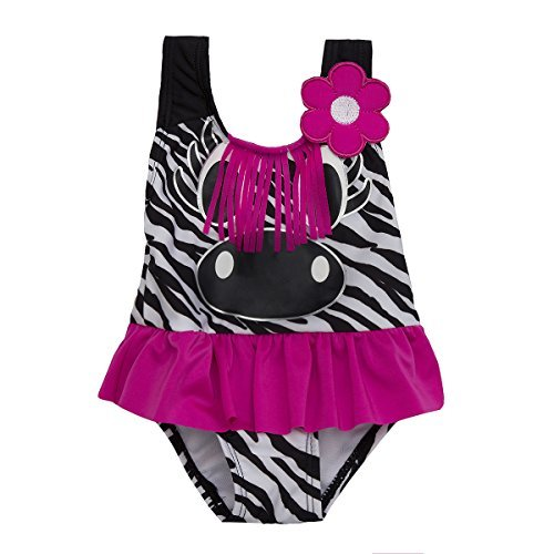 Babies / Childs Girls Novelty One Piece Swimming Costume ~ 3 Months to 6 Years (5-6 Years, Zebra)