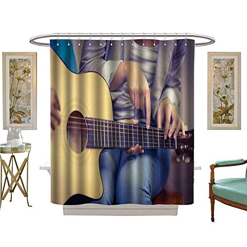 luvoluxhome Shower Curtains Digital Printing Teacher giv Guitar Lessons to Pupil in a Classroom Satin Fabric Sets Bathroom W72 x L84