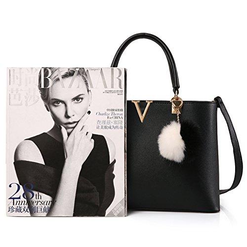 with Bag Bag BYD Shoulder Mutil Leather Woman Tote Black PU Pockets Handbag xWwRwUH6
