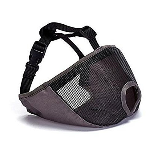 SUNNY RAIN Dog Muzzle for Barking for Short Snout Pitbulls Dog Anti Biting Chewing Eating (Gray) ()