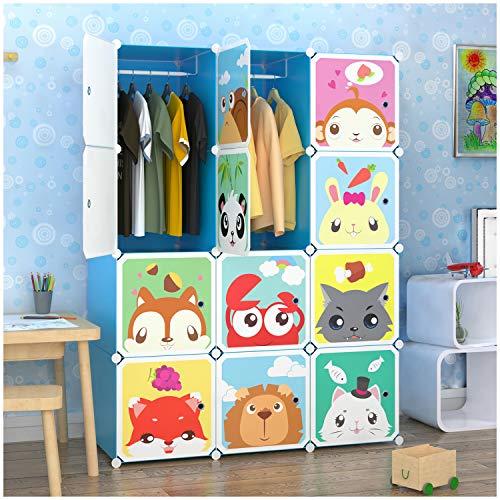 Tespo Portable Clothes Closet Wardrobe for Children and Kids, Cute Cartoon, DIY Modular Storage...
