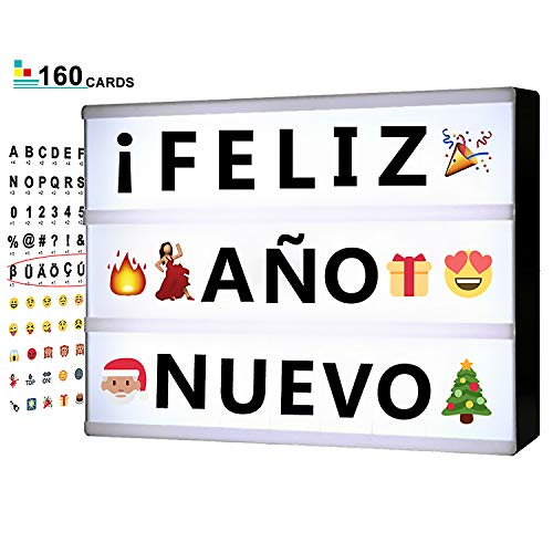 Cinema Light Box with Letters - Vintage Cinematic Light Up Message And Note Sign With 160 Letters, Numbers, Symbols & Emojis - Personalized A5 Magnetic White LED Lightbox With Long Durable USB Cable]()