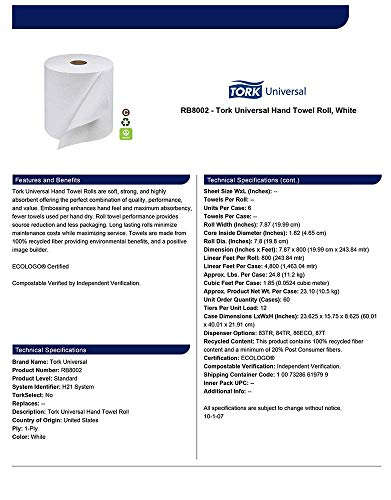Tork Universal RB8002 Hardwound Paper Roll Towel, 1-Ply, 7.87'' Width x 800' Length, White (Case of 6 Rolls, 800 per Roll, 4,800 Feet) (Тwo Рack) by Tork (Image #4)