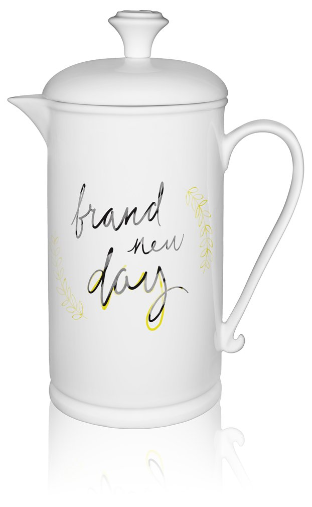 The French Press Coffee Company Porcelain & Stainless Steel Scroll-handle French Press - Artistic Hand-drawn ''Brand New Day'' in Gold by The French Press Coffee Company