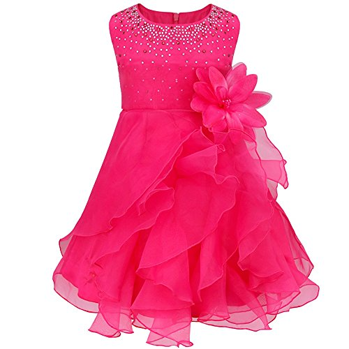 TiaoBug Baby Girls Organza Rhinestone Wedding Birthday Party Princess Flower Girl Dress Pageant Baptism Christening Gown Rose 12-18 Months