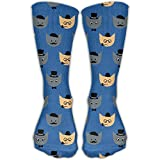 Men's Novelty Cats Glasses Mustache Bow Tie Tobacco Casual Outdoor Sport High Socks Athletic Crew Socks