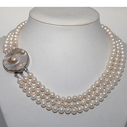 Blanc Grade A 3Rangs–Collier Femme–Perle de culture d'eau douce avec fermoir en nacre de 6,5–7,5mm, 43,2cm 45,7cm/47cm