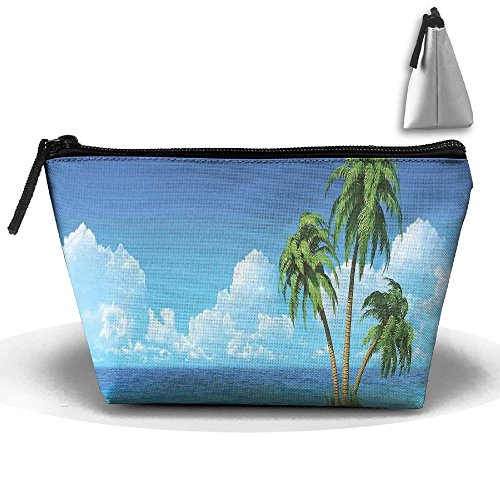 Adhone Exotic Tree And Skyline Paradise Illustration Makeup Bag Waterproof Travel Cosmetic Case Storage With Zipper For Women Girls