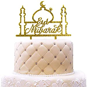 Personalized Eid Mubarak Cake Topper Ramadan Muslim Islamic Acrylic Gold Glitter for Wedding Baby Shower Birthday Party Decorations