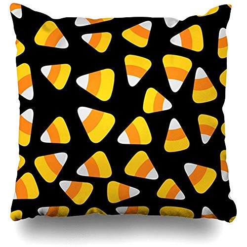 Decorative Throw Pillow Cover Art Orange Flat Candy Corn Happy Food Celebration Drink Yellow Pattern Big Color Design Home Decor Pillowcase Square 18