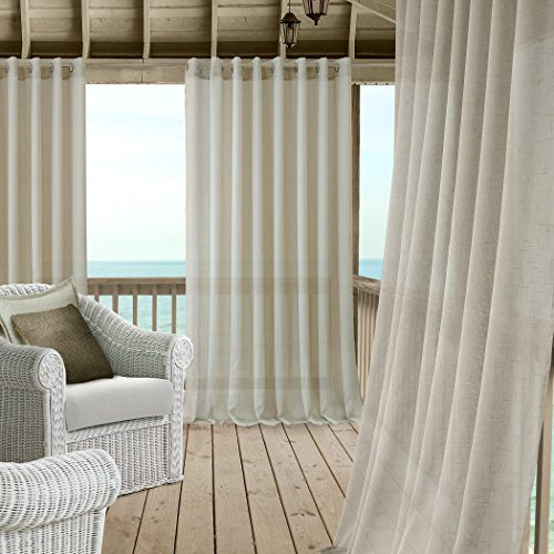 Carmen Sheer Extra Wide Indoor/Outdoor Grommet Top Single Panel Window Curtain Drape/Curtain Patio, Gazebo and Pergola Panel Includes 1 tieback, 114 Inch Wide X 108 Inch Long, Natural -