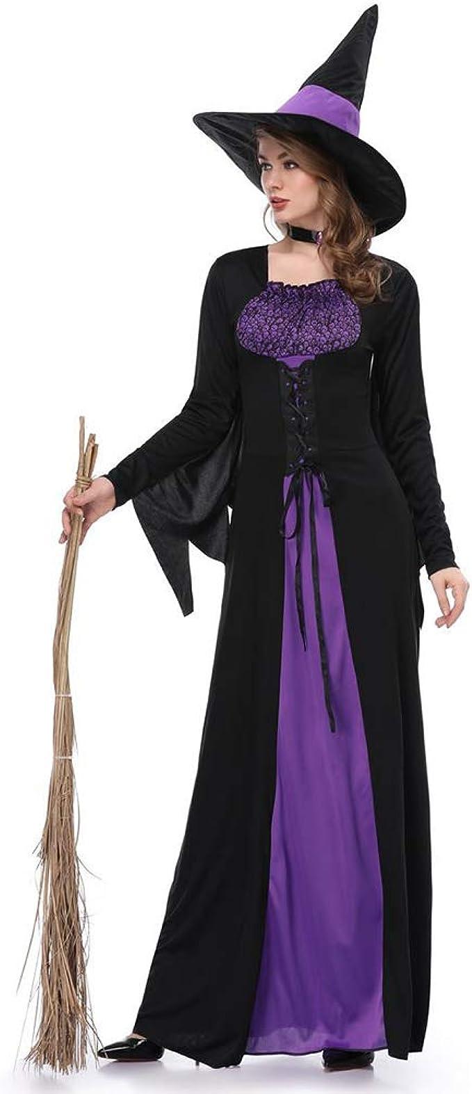 Beaums Traje de vestido de las mujeres Negro púrpura de la bruja ...