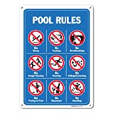 Pool Signs - Pool Rules Sign With Graphics- Large 10 X 14
