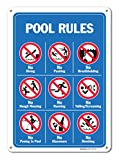 Pool Signs - Pool Rules Sign With Graphics- Large 10 X 14 Aluminum, For Indoor or Outdoor Use - By SIGO SIGNS