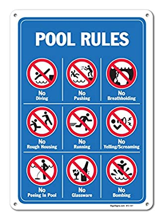 Pool Signs Pool Rules Sign With Graphics Large 10 X 14 Aluminum For Indoor Or