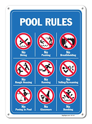 Pool Signs - Pool Rules Sign With Graphics- Large 10 X 14 Aluminum, For Indoor or Outdoor Use - By SIGO SIGNS (Rules Aluminum Sign)