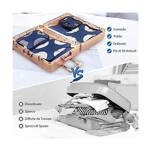 CISHANJIA Organizer Valigie Set di 7 Cubo di Viaggio Cubi di Imballaggio con Contenitore per Cosmetici, Sacca… 2 spesavip