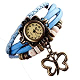 Watches for Women Clearance Wugeshangmao Girl's Fashion Analog Quartz Watch, Ladies Weave Around Butterfly Bracelet Leather Strap Round Case Wirst Watch Business Casual Watch Gift