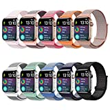 VATI Band Compatible with Apple Watch Band 44mm 42mm 40mm 38mm, Breathable Nylon Sport Loop Band Adjustable Replacement Wrist Band Compatible with iWatch Series 4/3/2/1 (Pack 10, for Watch 38MM/40MM)