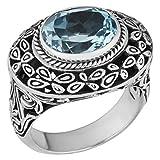 Artisanica Sterling Silver Blue Topaz Bali Art Ring (size 6)