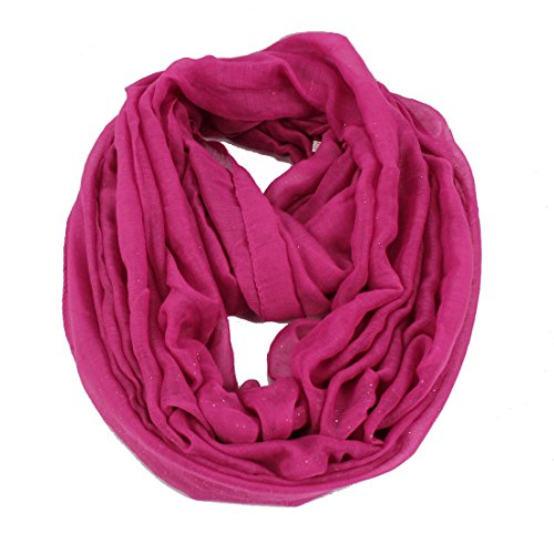 Women's Shiny Glitter Print Infinity Loop Cowl Casual Ladies Circle Scarf Hot (Hot Pink Cowl)