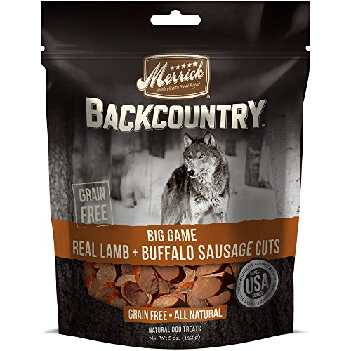 Merrick Backcountry Big Game Real Lamb + Buffalo Sausage Cuts Dog Treat, (Merrick Sausage)