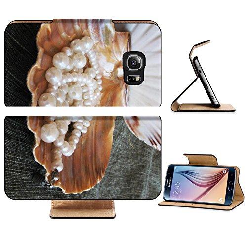 Luxlady Premium Samsung Galaxy S6 Edge Flip Pu Leather Wallet Case IMAGE ID 5338339 Seashell wiht pearl