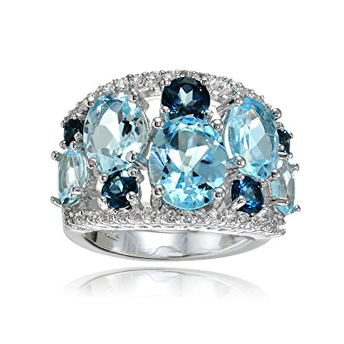 Sterling Silver Genuine London Blue, Blue and White Topaz Tonal Dome Ring (Ring White Dome Topaz)