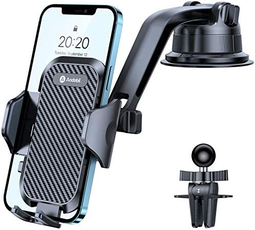 andobil Car Phone Holder, [2021 Best Driving View] 4in1 Ultra Stable Universal Car Phone Mount for Dashboard Windscreen Air Vent, Compatible with All Smartphones like iPhone, Samsung, Oneplus, etc