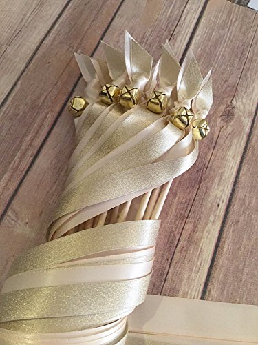 100 Shimmer wedding ribbon wands gold and nude wedding wands send off by The Brides Made Shop