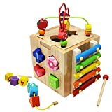 Toyzoo Learning Bead Maze Wooden Educational Toy Activity Center with 10 Shapes Blocks for Toddlers