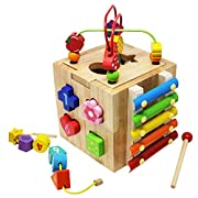 Toyssa Learning Activity Center Bead Maze Wooden Educational Toys Shapes Sorter Xylophone for Toddlers Kids