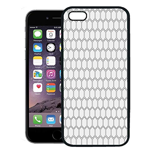 Semtomn Phone Case for iPhone 8 Plus case,Geometric Abstract Minimalistic Black and White Pattern Hexagon Shape Polygon iPhone 7 Plus case Cover,Black