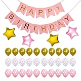 HAPPY BIRTHDAY DECORATION KIT-Pastel and Gold Foiled Happy Birthday Bunting ...