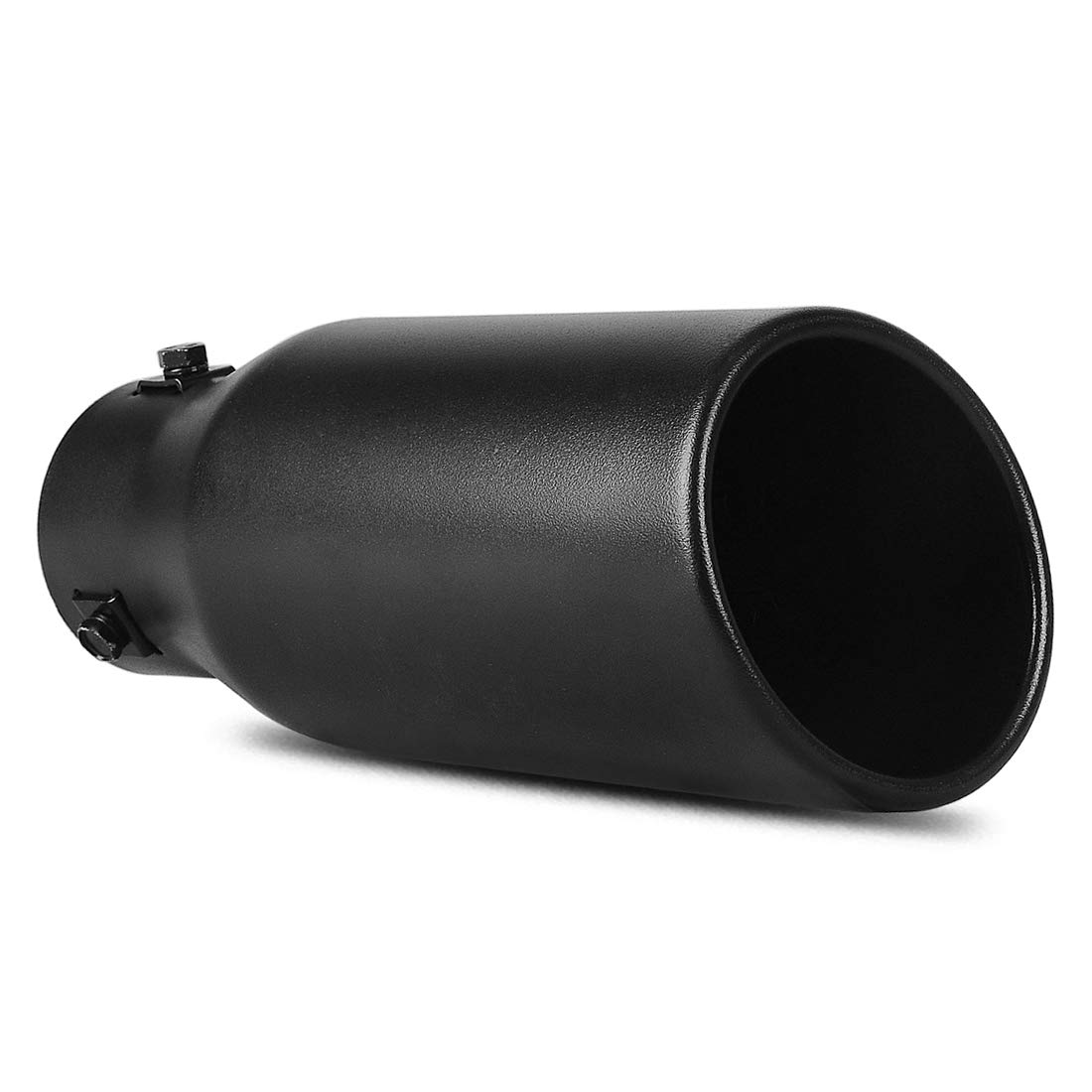 1.5-2.0 Inch Inlet Black Exhaust Tip AUTOSAVER88 Black Powder Coated Stainless Steel Exhaust Tip Bolt On Design.