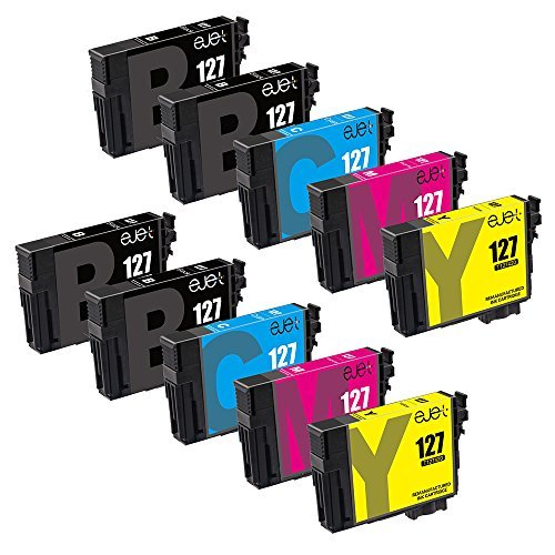 (ejet Remanufactured Ink Cartridge Replacement for Epson 127 T127 to use with Workforce WF-3520 WF-3530 WF-3540 WF-7520 645 545 630 840 845 Stylus NX625 (4 Black, 2 Cyan, 2 Magenta,)