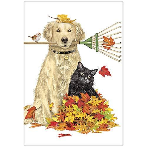 (Mary Lake-Thompson Raking Leaves Dog and Cat Cotton Flour Sack Dish Towel)