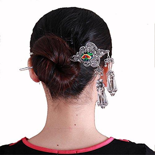 SCTribal Tribal Tibet Silver Necklace Earring Set Hairpin Flat Metal Tassel Bib Choker Necklace For Women Drop Pendant Chain Necklace Earring Set Beaded Vintage Style Cluster Embroidery (1) (Bib Necklace Drop)
