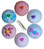 Heart Bath Bombs Love & Hearts w/FREE Lip Balm, Gift Set 6 Bath Bombs from Enhance Me, Handmade in USA with Organic Coconut Oil, Rich Shea Butter and Sustainable Palm Oil