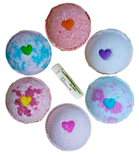 Love  Hearts w/FREE Lip Balm, Gift Set 6 Bath Bombs from Enhance Me, Handmade in USA with Organic Coconut Oil, Rich Shea Butter and Sustainable Palm …