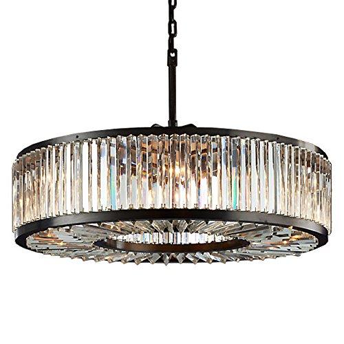 Welles 10 Light Clear Crystal Round Chandelier Light Fixture in Java Brown Finish - Restoration Revolution 700145-001